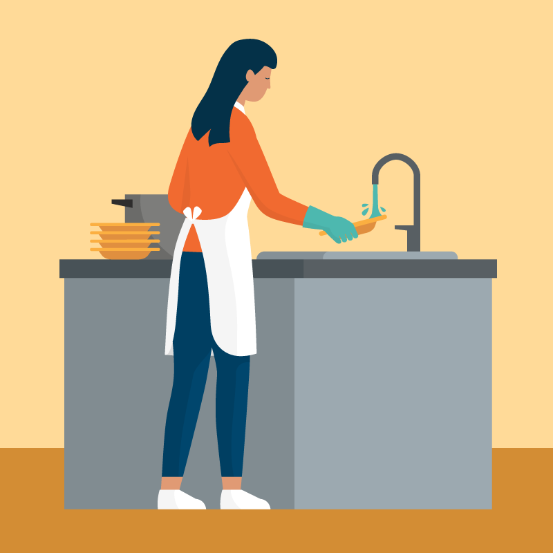 Illustration of a woman washing dishes