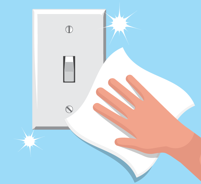 Illustration of someone cleaning a light switch