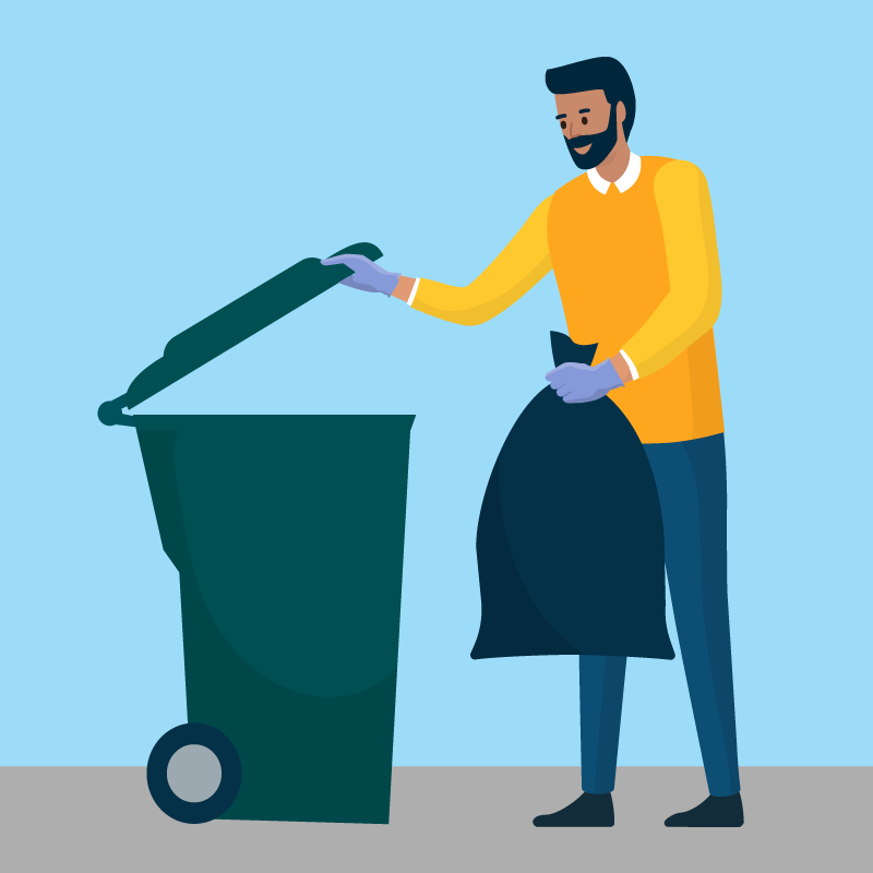 Illustration of a man taking out the trash