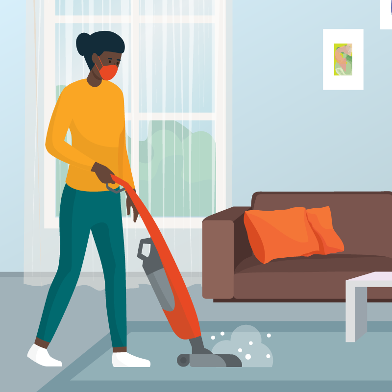 Illustration of a woman vacuuming while wearing a mask