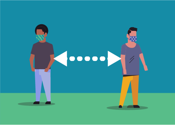 两个戴口罩的人站立距离6英尺图示