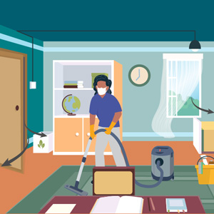 Illustration of a person vacuuming while wearing a mask