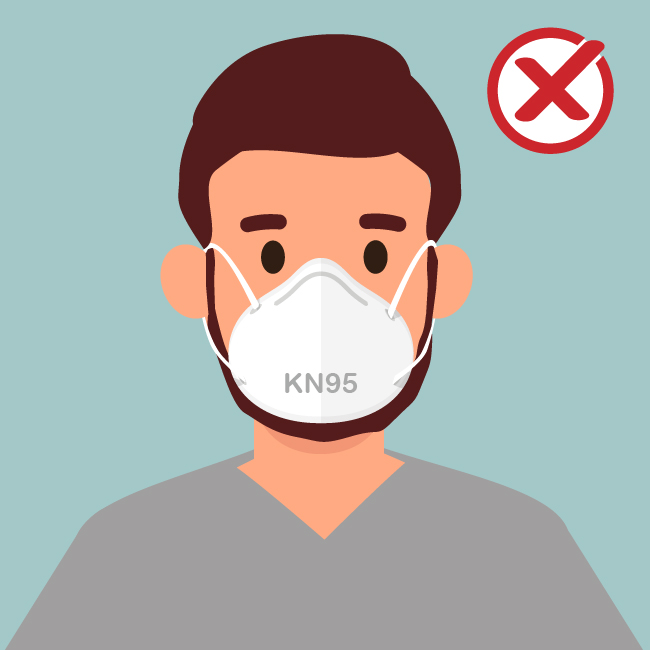 Do NOT wear KN95 masks if you have certain types of facial hair