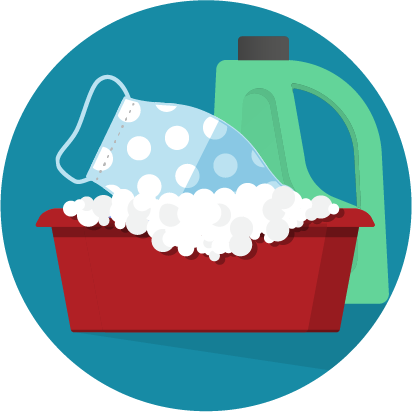An illustration of a mask being dunked into a tub of suds with a bottle of detergent in the background. Used courtesy of the CDC.