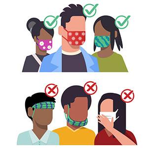 图示为正确佩戴口罩的人和不正确佩戴口罩的人