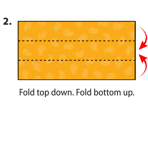 The square bandanna is shown lying flat. The bandanna is then folded in half, bringing the top edge of the bandanna to meet the bottom edge of the bandanna.