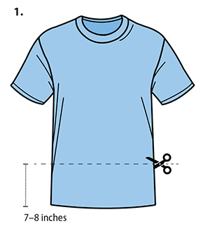 A front view of a T-shirt is shown. A straight, horizontal line is cut across the entire width of the T-shirt, parallel to the T-shirt's waistline. Using a pair of scissors, the cut is made approximately seven to eight inches above the waistline. Both the front and back layer of the T-shirt are cut simultaneously.