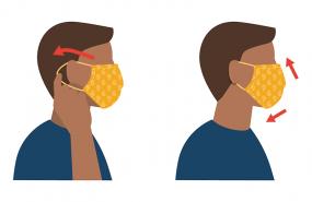 将布制面罩戴在脸上。面罩应从下巴下方一直盖到鼻子上方,并将其捏紧以贴合鼻梁。