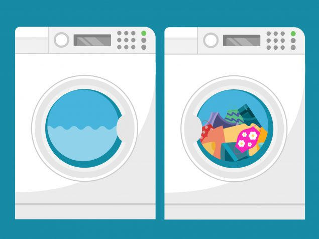 Washer and dryer - dryer has regular laundry including face masks