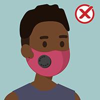KHÔNG NÊN chọn khẩu trang có van thở ra hoặc lỗ thông hơi, để cho các phần tử vi-rút thoát ra ngoài
