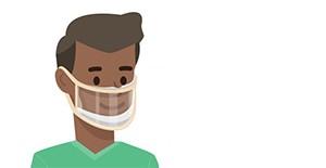 minh họa một người đeo khẩu trang với một tấm nhựa trong suốt