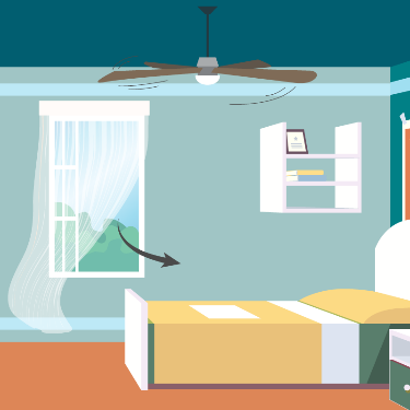 Illustration of a ceiling fan spinning in a bedroom