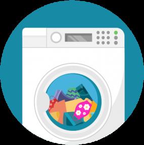 Ilustración, ropa en la secadora