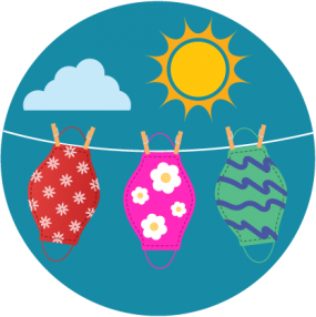 ilustración, mascarillas de tela colgadas en el tendedero