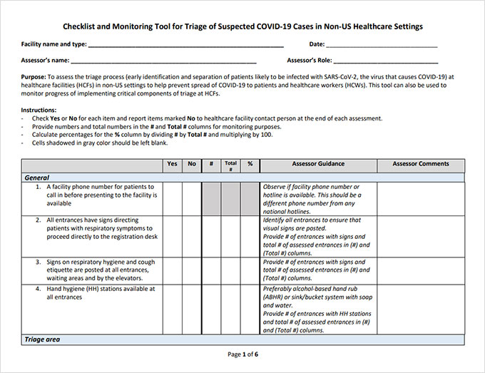 Checklist and Monitoring Tool for Triage of Suspected COVID-19 Cases in Non-US Healthcare Settings