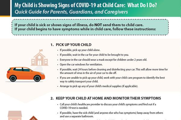 家长快速指南,在儿童看护机构出现COIVD-19症状