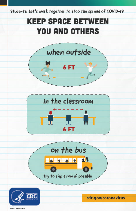 poster: k-12 students - keep space when outside