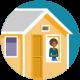 삽화: 집에 격리된 여성