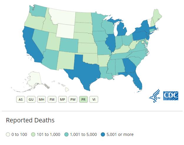 관할지역별로 보고된 사망자 수를표시한 지도 그림