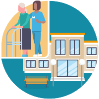 Illustration of a healthcare worker helping an elderly woman with a facility in the background.