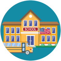 School with bus icon.