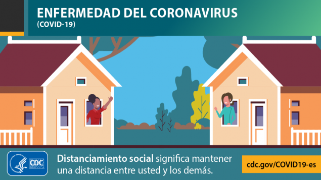 Coronavirus Diseases 2019 (COVID-19).Social distancing means putting space between yourself and others. cdc.gov/COVID19