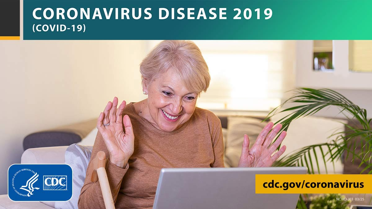 Photo of a happy woman on a laptop with the text CORONAVIRUS DISEASE 2019 (COVID-19), site URL, and CDC logo.