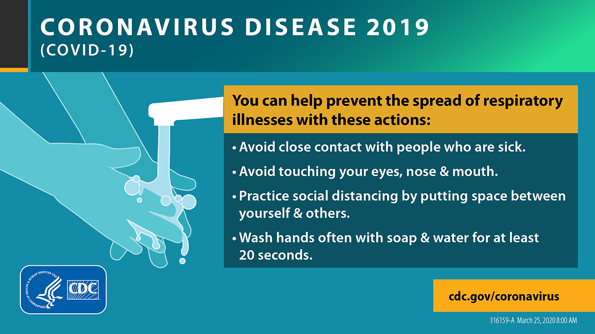 """Infographic: You can help prevent the spread of respiratory illness with these actions: Avoid close contact with people who are sick. Avoid touching your eyes, nose, and mouth. Wash hands often with soap and water for at least 20 seconds."""