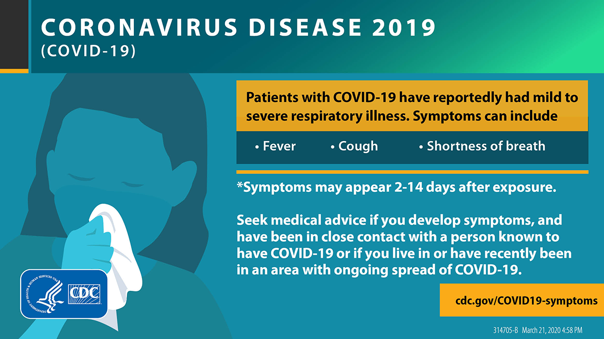 """Infographic: Patients with COVID-19 have reportedly had mild to severe respiratory illness. Symptoms include: fever, cough, and shortness of breath."""