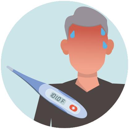 Persona transpirando y termómetro que indica que la persona tiene fiebre