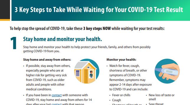 等待COVID-19检测结果时要采取的3个关键步骤