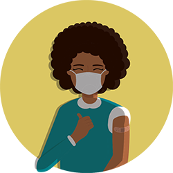 illustration of woman in face mask who received vaccine