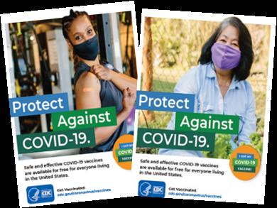 Afiches para promocionar la vacuna