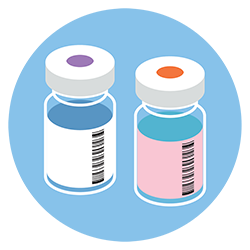 illustration of two vaccine vials