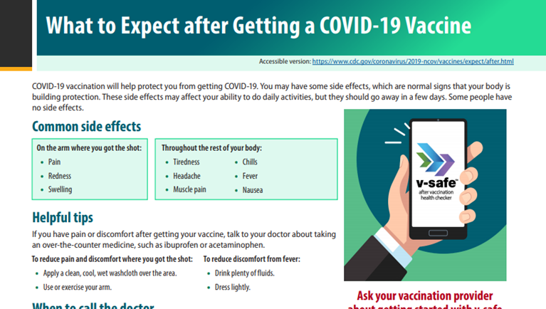 fact sheet thumbnail - What to Expect after Getting a COVID-19 Vaccine