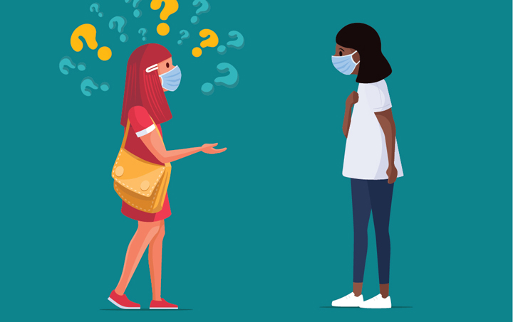 woman in mask asking other woman in mask with question marks above her head