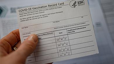 Tarjeta de registro de vacunación contra el COVID-19 de los CDC