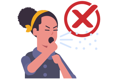 illustration of person coughing without covering their mouth
