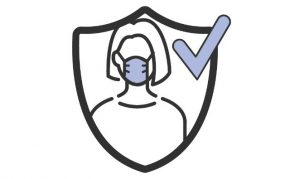 Mask on shield with a checkmark