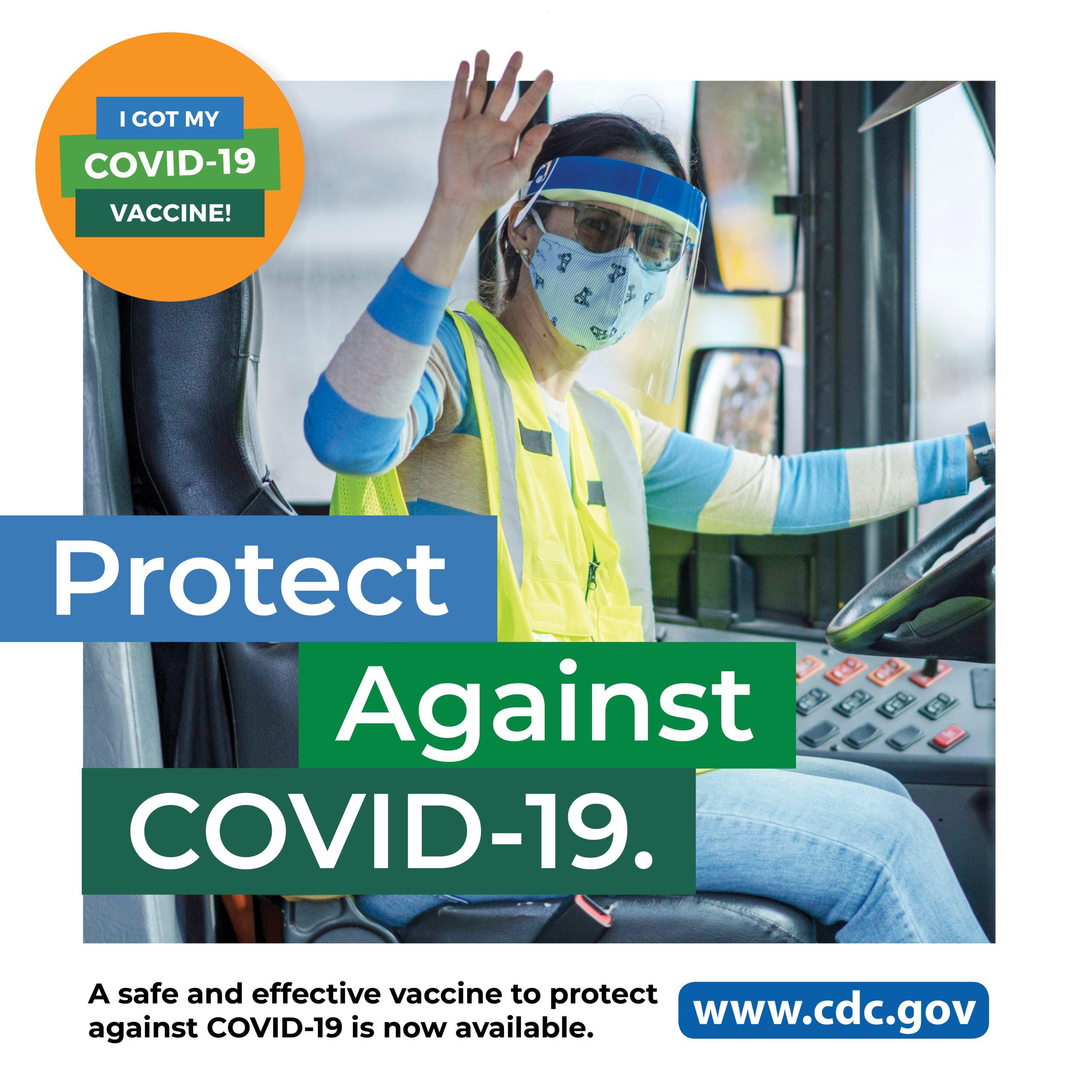 imagen de medios sociales - Conductora de autobús con protector facial