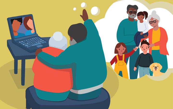 llamada virtual con los abuelos como si estuviesen en persona