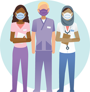 3 healthcare workers standing next to each other
