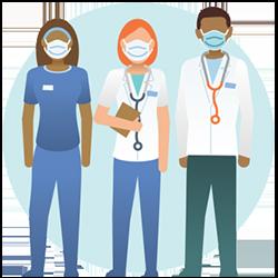 마스크를 착용한 3명의 의료진