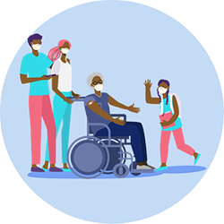 坐在轮椅上的老人与家人的图示