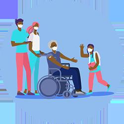 ilustración de un adulto mayor en una silla de ruedas junto a la familia