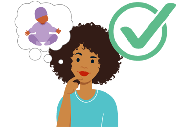 illustration of person thinking about having a baby