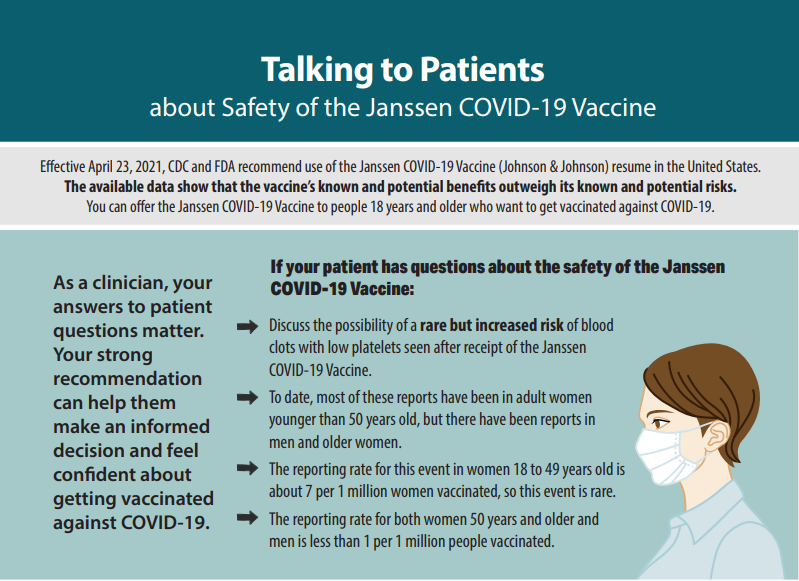 인쇄물 썸네일 - J&J/얀센 COVID-19 백신에 대해 환자와 이야기하기