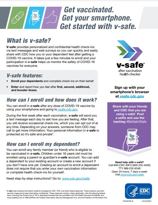 miniatura de planilla informativa sobre v-safe