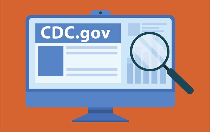 versión del ícono del sitio web de los CDC en la pantalla de la computadora