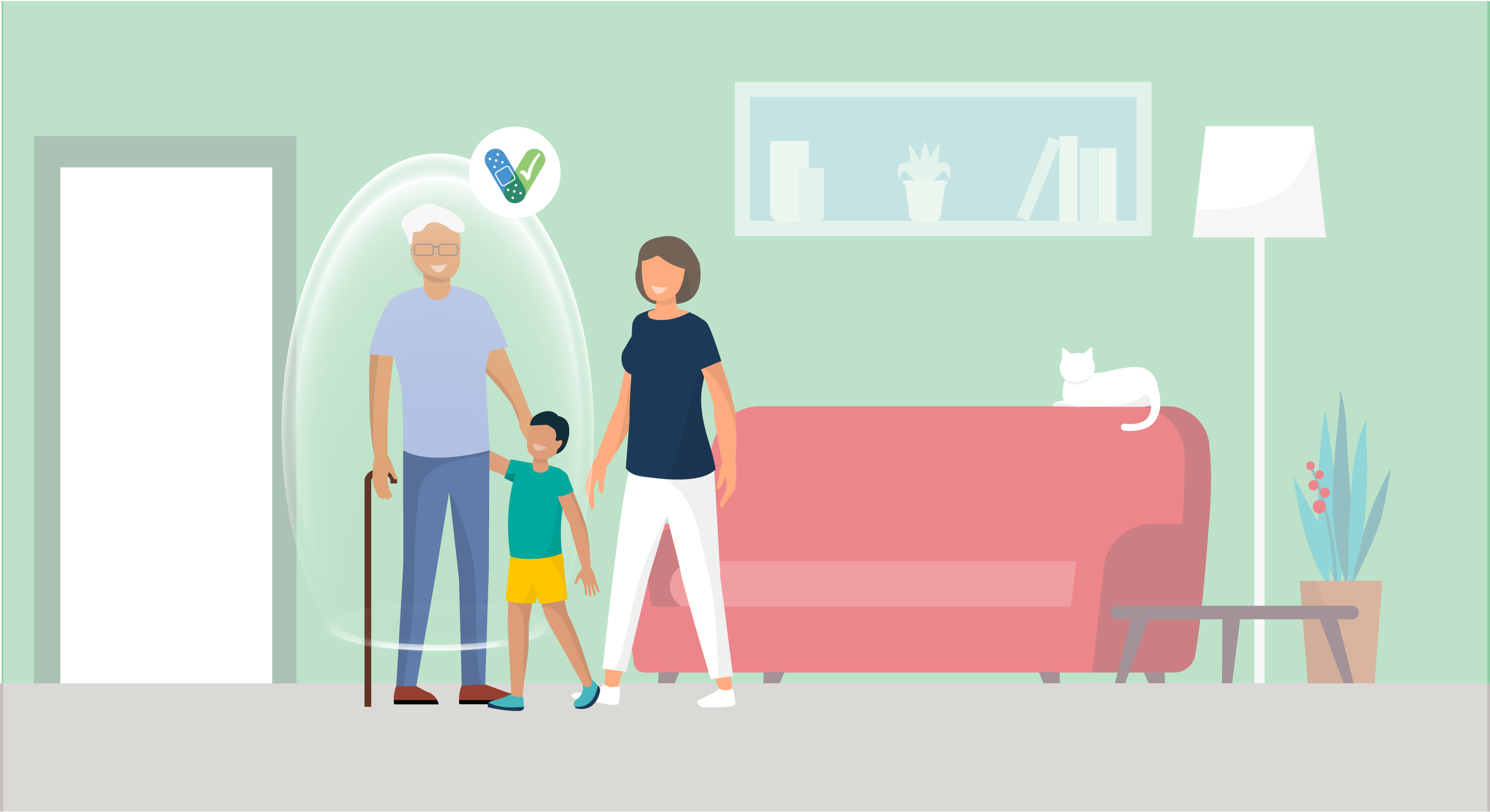 illustration of person visiting family